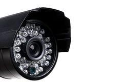 CCTV security camera video equipment. Surveillance monitoring. Video camera lens closeup. Macro shot. Security concept. Security c. Amera isolated on white royalty free stock photo