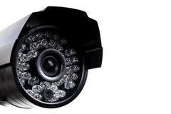 CCTV security camera video equipment. Surveillance monitoring. Video camera lens closeup. Macro shot. Security concept. Security c. Amera isolated on white stock photo