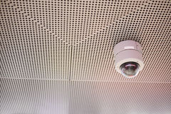 CCTV Security camera wall ceiling Stock Photo