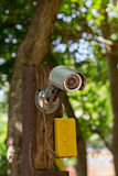 CCTV security camera on a wooden Royalty Free Stock Photography