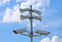 CCTV security cameras and loudspeakers Stock Photos