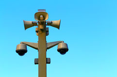 Cctv security cameras on the pole stock images