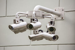 CCTV security cameras on the wall Stock Photo