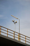 CCTV security cams. CCTV security cams at carpark and blue sky stock images