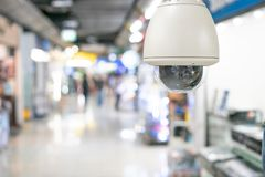 CCTV security with shop store blurry background. royalty free stock images