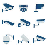 CCTV security video camera vector flat icons set Stock Photo