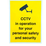CCTV sign. Cut out of CCTV yellow sign on white background Royalty Free Stock Photography