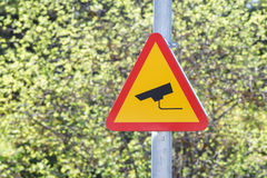CCTV sign on a post Royalty Free Stock Images