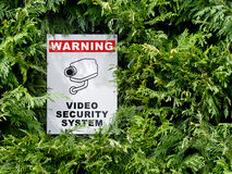 Cctv signboard. Video security system warning signboard on a fence hedge Royalty Free Stock Photo
