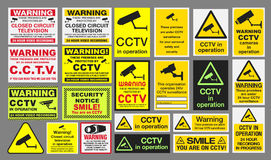 CCTV Signs. Vector pack of different CCTV Closed Circuit Television sings