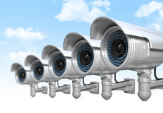 Cctv and sky background Stock Photography