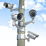 Cctv and sky background Stock Images