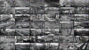 CCTV split screen, surveillance monitoring stock video