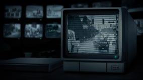 CCTV staci dopatrywania ruch drogowy W ulewnym deszczu ilustracja wektor