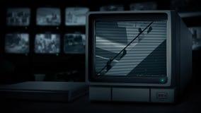 Cctv-station i shoppinggalleria lager videofilmer