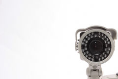 CCTV Surveillance Camera. Classic CCTV infrared security camera isolated on white Royalty Free Stock Photos