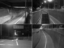 CCTV surveillance camera in black and white. CCTV surveillance camera of a subway underpass in black and white Royalty Free Stock Images