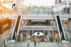 CCTV or surveillance camera inside the shopping mall. Royalty Free Stock Photo