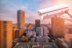 CCTV or surveillance camera  recording in the city. CCTV or surveillance camera  recording  important events and a guard house and property with the sunrise in Stock Images