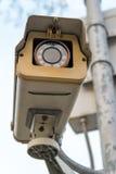 CCTV surveillance camera spying. Close-up of a CCTV surveillance camera, spying on people stock photo