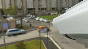 Surveillance Camera On The Street  Watching People  Stock Footage