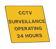 CCTV surveillance sign. CCTV 24 hour surveillance sign, isolated on white Stock Photo