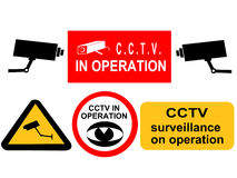 CCTV surveillance signs royalty free stock photography