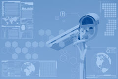 CCTV or surveillance with technology screen layer Stock Photography