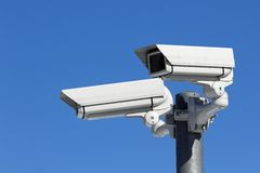 CCTV Surveillance Video Camera. Mounted on a metal pole Royalty Free Stock Photo