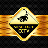 Cctv symbol on a metallic perforated background Royalty Free Stock Photo
