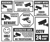Cctv symbols, security camera sticker, video surveillance Stock Photos