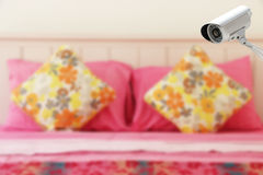 CCTV system security in the bedroom. Stock Image