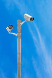CCTV system security with blue sky background Stock Photos