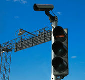 CCTV system and traffic light Stock Image