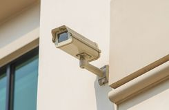 CCTV to protect the security wall. Stock Photos