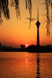 Cctv Tower At Sunset Stock Photography
