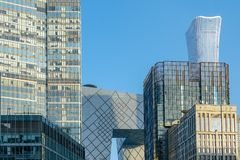 The CCTV Tower between tower in the financial district of Beijing, China. royalty free stock photos