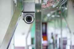 CCTV in the train. With safety in travel Stock Photos