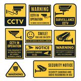 CCTV warning sign set, video system control. Emblem to indicate and warn of the presence of closed circuit television systems. Vector flat style cartoon royalty free illustration