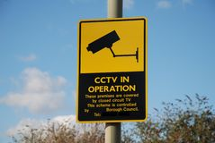 CCTV warning signage, England Stock Photos