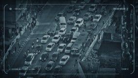 CCTV Wiele ludzie I samochody Krzyżuje miasto most zdjęcie wideo