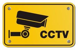 CCTV yellow sign - rectangle sign Stock Photos