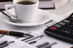 CCup coffee business news Royalty Free Stock Images