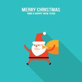 CCute Santa Claus with presents and Christmas deer modern flat design style Stock Photos