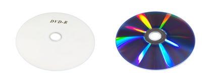 CD或DVD圆盘前面和后部孤立 免版税库存图片
