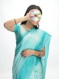 CD的印第安妇女 图库摄影