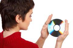 CD的妇女 免版税库存照片