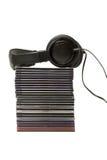 CD的收集耳机 免版税库存图片