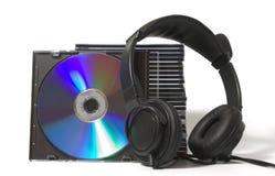 CD的收集耳机 免版税库存照片