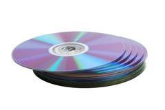 CD的盘堆积查出在白色 库存照片
